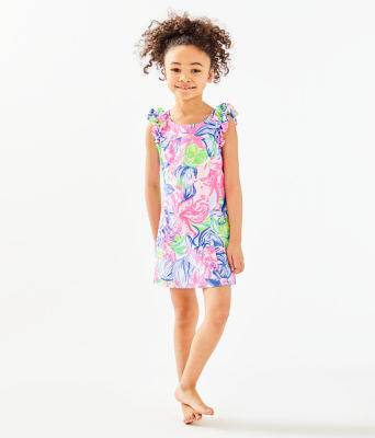 Girls Mini Steffi Shift Dress, Multi Havana Cocktail, large 1