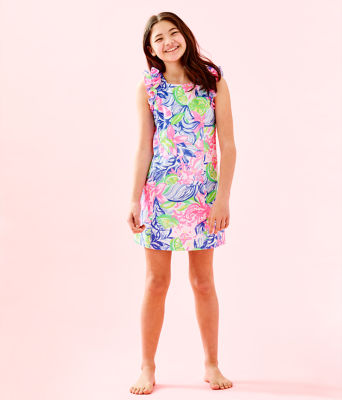 Girls Mini Steffi Shift Dress, Multi Havana Cocktail, large 4