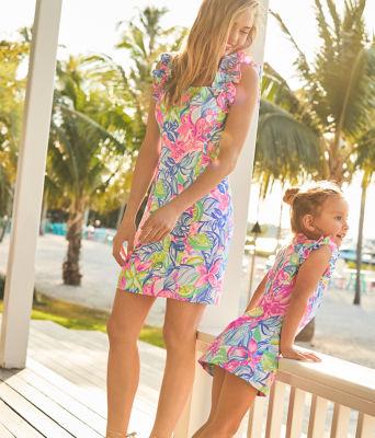 Girls Mini Steffi Shift Dress, Multi Havana Cocktail, large 5
