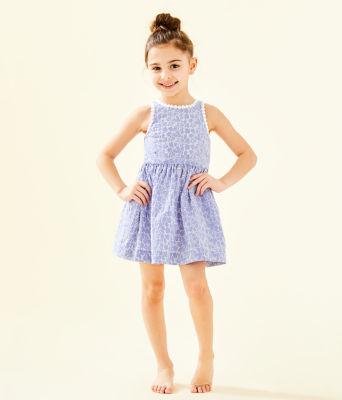 Girls Mini Tori Dress, Crew Blue Tint Yarn Dye Stripe Floral Eyelet, large