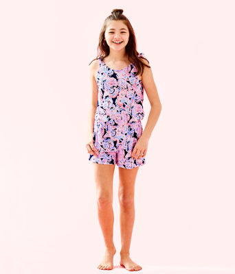 Girls Cady Romper, High Tide Navy Its For Shore, large 1