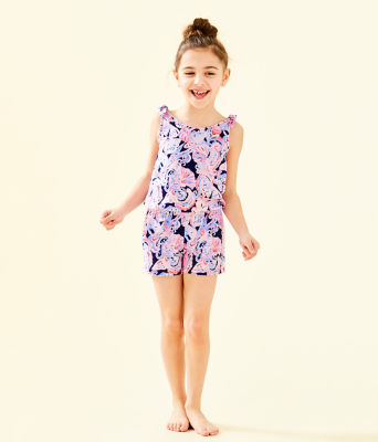 Girls Cady Romper, High Tide Navy Its For Shore, large 3