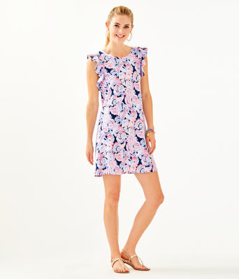 Dani Dress, High Tide Navy Its For Shore, large 3