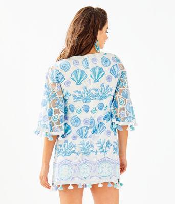 Jackelin Romper, Bali Blue Sea To Sea Engineered Lace, large 1