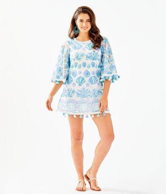 Jackelin Romper, Bali Blue Sea To Sea Engineered Lace, large 3