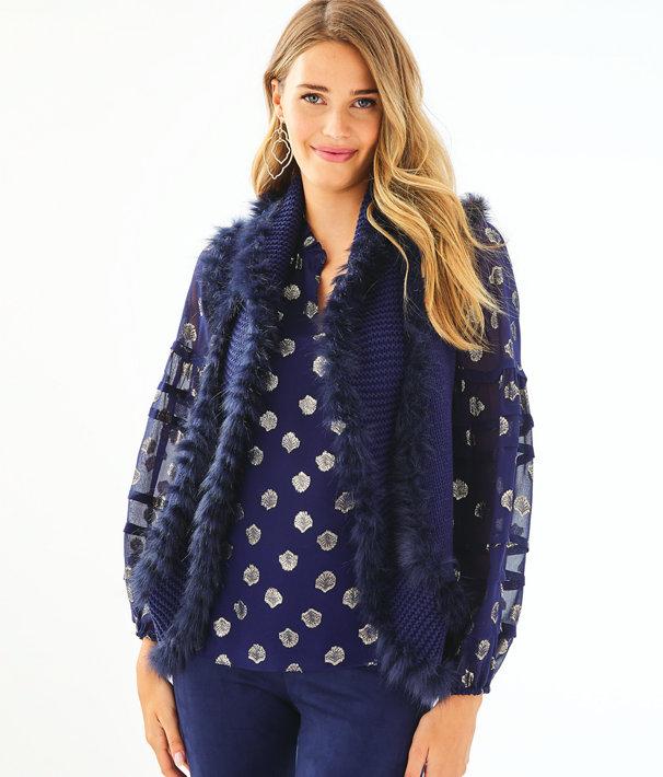 Trinette Faux Fur Vest, True Navy, large
