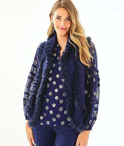 Trinette Faux Fur Vest, True Navy, large 0
