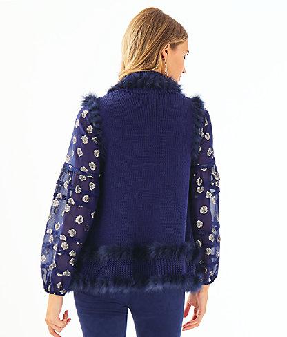 Trinette Faux Fur Vest, True Navy, large 1
