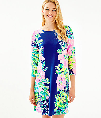 Ophelia Swing Dress, Multi Island Escape Engineered Knit Dress, large 0
