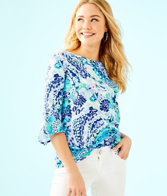 Fontaine Bell Sleeve Top, Turquoise Oasis Wave After Wave, large 0