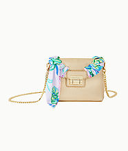 Weston Leather Crossbody Bag, Gold Metallic, large