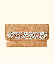Georgette Embellished Cork Clutch, Natural, large