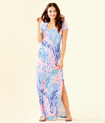 Wynne Maxi Dress, Crew Blue Tint Kaleidoscope Coral, large 0