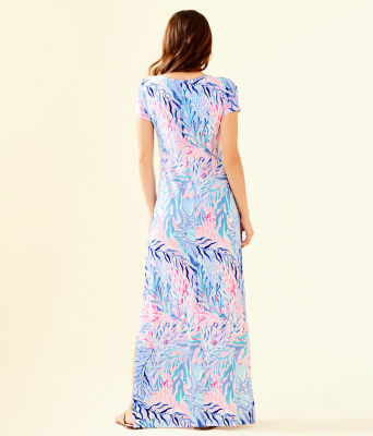 Wynne Maxi Dress, Crew Blue Tint Kaleidoscope Coral, large 1