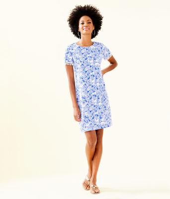 Lissie Dress, Coastal Blue Fancy Feet, large