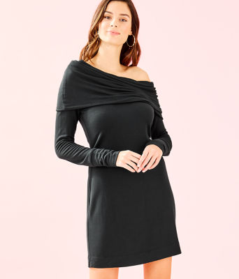 Belinda One-Shoulder Dress, Onyx, large