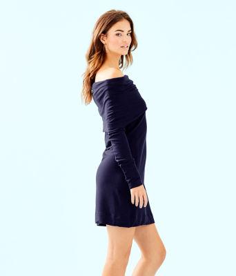 Belinda One-Shoulder Dress, True Navy, large 2
