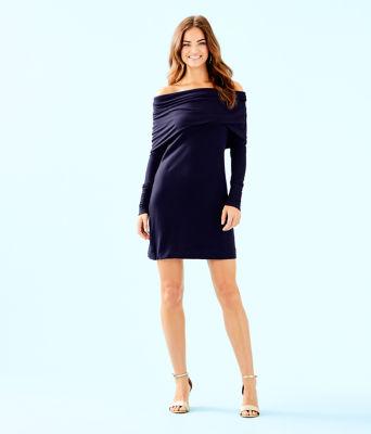 Belinda One-Shoulder Dress, True Navy, large 3