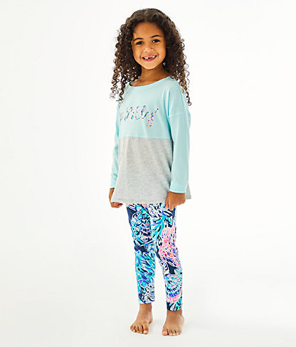 Girls Maia Legging, High Tide Navy Party In Paradise, large 0