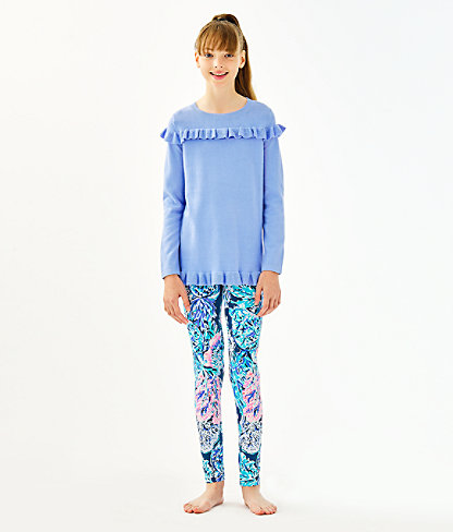 Girls Maia Legging, High Tide Navy Party In Paradise, large 1