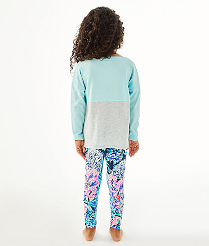 Girls Maia Legging, High Tide Navy Party In Paradise, large 2