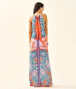 Hollyn Halter Maxi Dress, Tangerine Tangerine Dream Engineered Dress, large