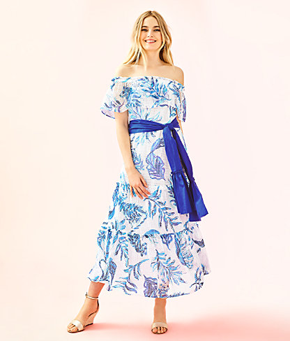 Sona Off-The-Shoulder Midi Dress, Resort White No Place Like Roam, large 0