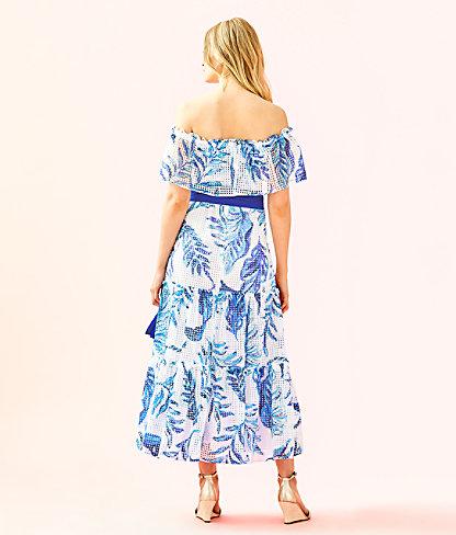 Sona Off-The-Shoulder Midi Dress, Resort White No Place Like Roam, large 1