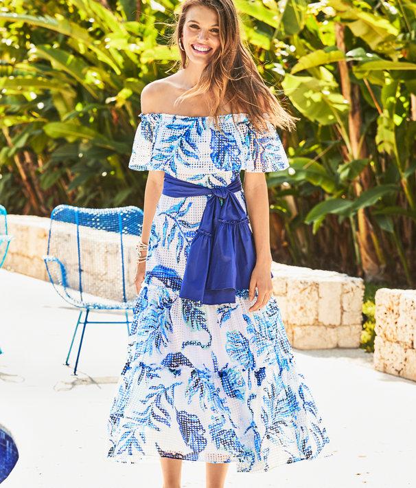 Sona Off-The-Shoulder Midi Dress, Resort White No Place Like Roam, large