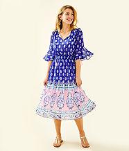 Lesleh Midi Dress, Lapis Lazuli Glow Up Engineered Dress, large