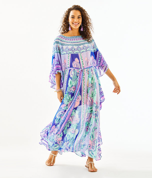 Monnae Midi Caftan, Multi Moroccan Mint Engineered Dress, large