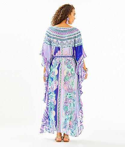 Monnae Midi Caftan, Multi Moroccan Mint Engineered Dress, large 1