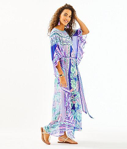 Monnae Midi Caftan, Multi Moroccan Mint Engineered Dress, large 2