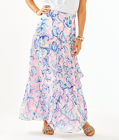 Agnes Faux Wrap Skirt, Sweet Pea Pink Chasing The Sun, large 0