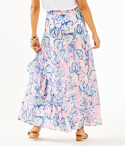Agnes Faux Wrap Skirt, Sweet Pea Pink Chasing The Sun, large 1