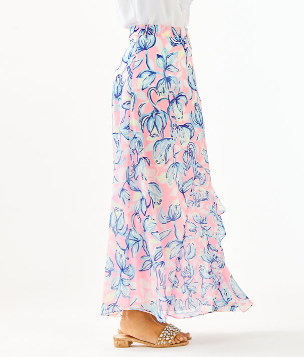 Agnes Faux Wrap Skirt, Sweet Pea Pink Chasing The Sun, large