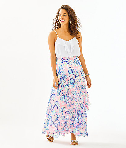 Agnes Faux Wrap Skirt, Sweet Pea Pink Chasing The Sun, large 3