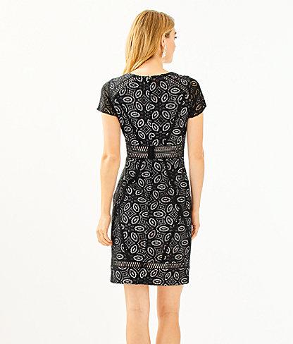 Suzanne Shift Dress, Onyx Floral Medallion Lace, large 1