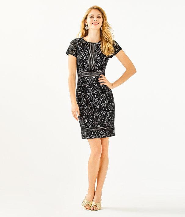 Suzanne Shift Dress, Onyx Floral Medallion Lace, large