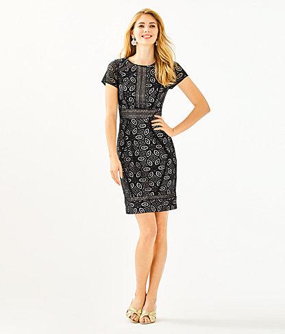 Suzanne Shift Dress, Onyx Floral Medallion Lace, large 4