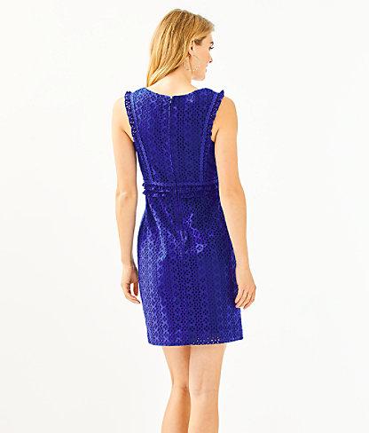Kaylee Shift Dress, Lapis Lazuli Petite Petal Eyelet, large 1