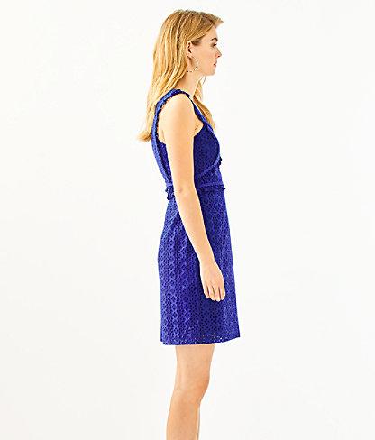 Kaylee Shift Dress, Lapis Lazuli Petite Petal Eyelet, large 2
