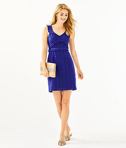 Kaylee Shift Dress, Lapis Lazuli Petite Petal Eyelet, large 3