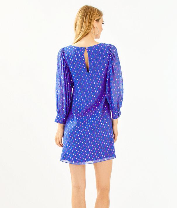 Maisel Silk Dress, Iris Blue Moroccan Metallic Clip, large