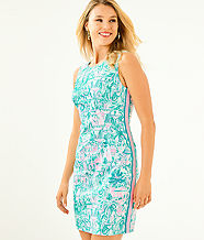 Mila Stretch Shift Dress, Bright Agate Green Colorful Camelflage, large