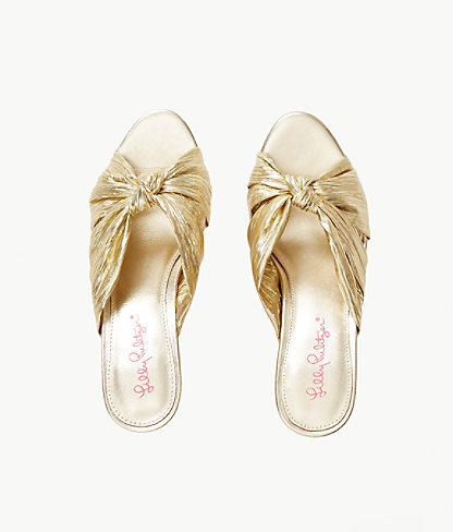 Sheena Slide Sandal, Gold Metallic, large 1