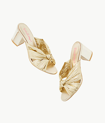 Sheena Slide Sandal, Gold Metallic, large 2