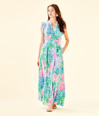 Palm Beach Silk Maxi Dress, , large