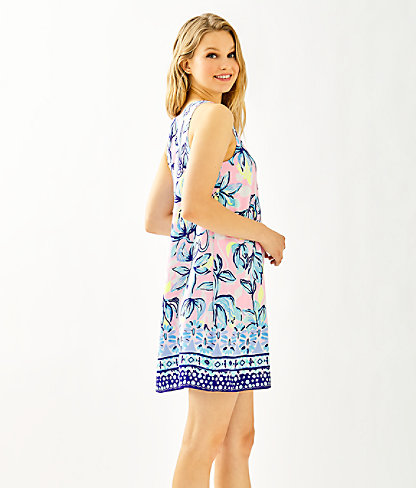 Jackie Silk Shift Dress, Sweet Pea Pink Chasing The Sun Engineered Woven Dress, large 2