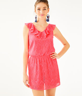 Alessa Romper, Crab Claw Coral Flowing Leaf Lace, large 0